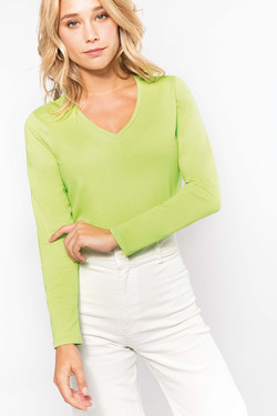 T-shirt col V ou rond manches longues femme - 180g/m2