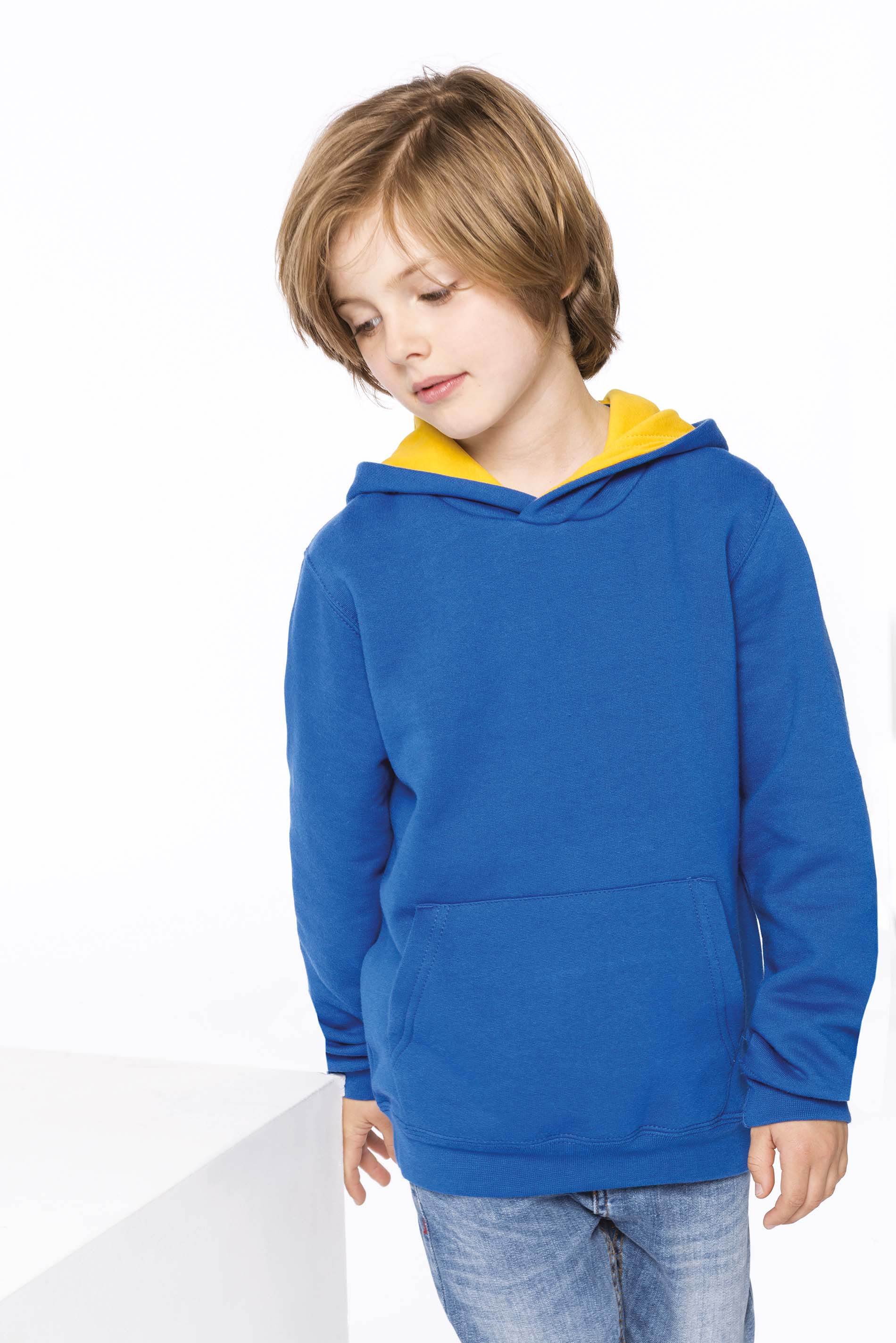 Sweat zippé à capuche bicolore