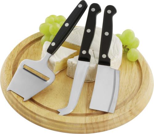 Plateau à fromage en bois comprenant 3 ustensiles.