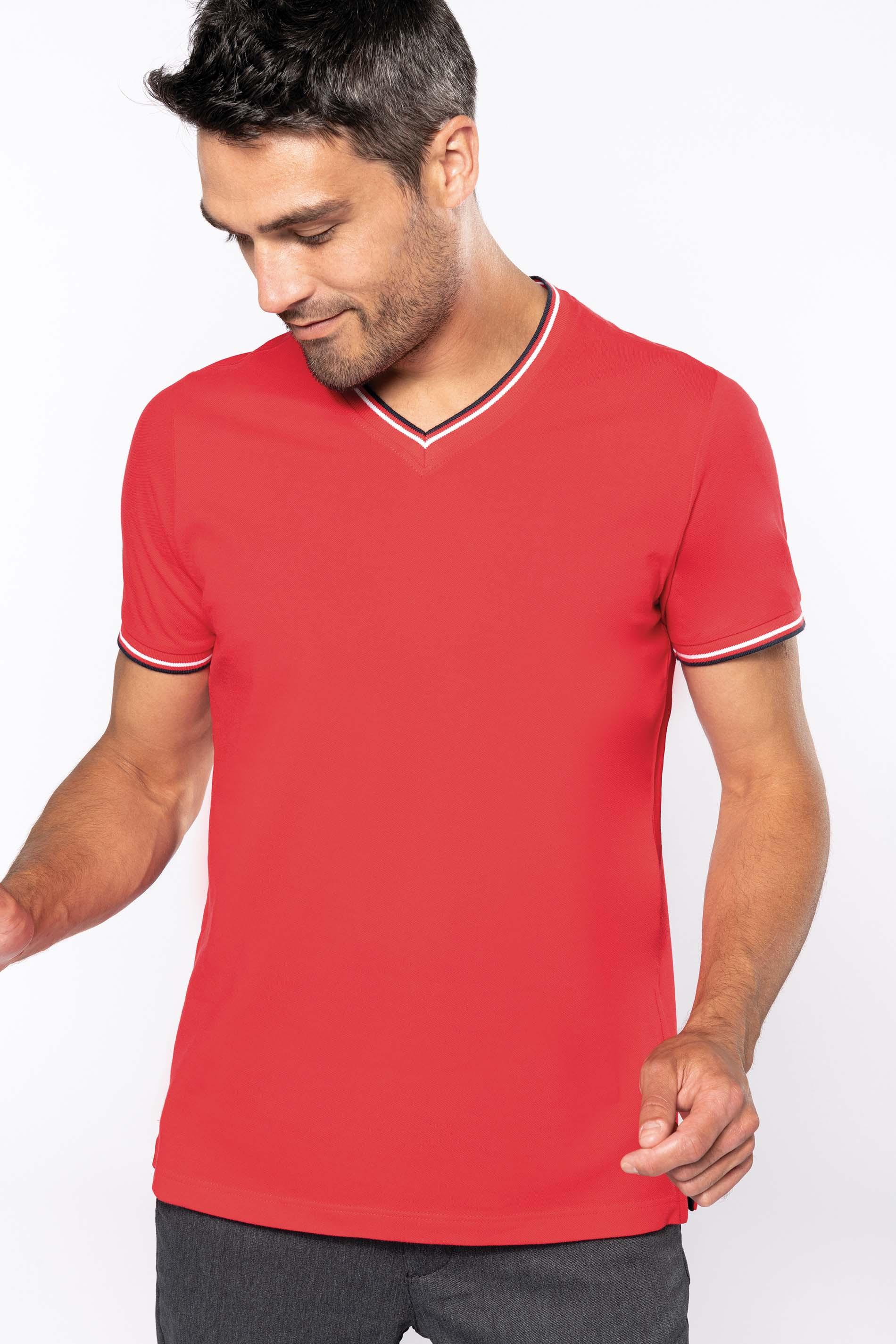 T-shirt col V - bicolore