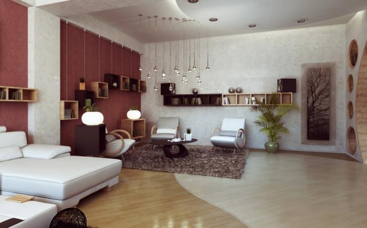 Living room cozy string lighting