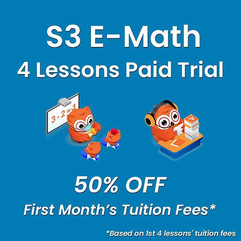 S3 E-Math - 4 Lessons Paid Trial (Classroom / Live-Stream)