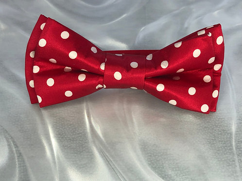 Red Silk Polkadot With White Dots