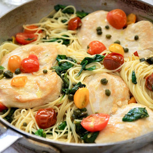 JSH Chicken Picatta With Spinach, Cherry Tomatoes & Angel Hair