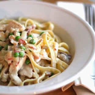 JSH Spring Pasta With Prosciutto, Peas, Chicken & Mushrooms