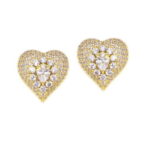 Brinco Coração Cravejado com Zircônia Cristal no Ouro