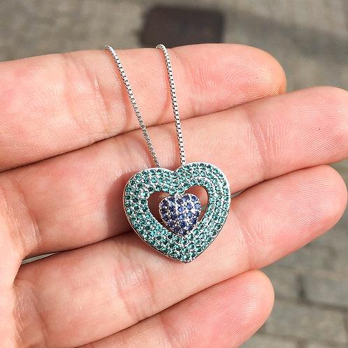 Colar Coração Cravejado com Zircônia Coloridas