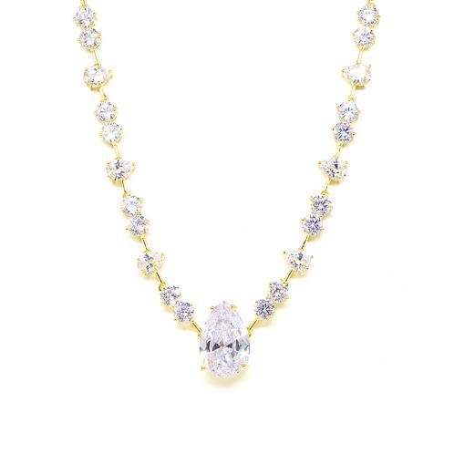 Colar Luxo Cravejado com Zircônia Cristal no Ouro