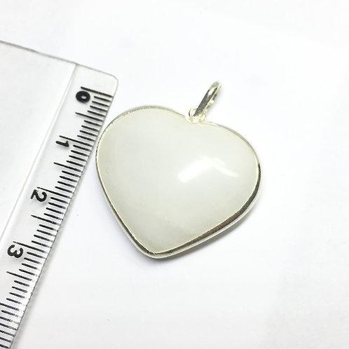 Pingente Coração Quartzo Leitoso Prata 950