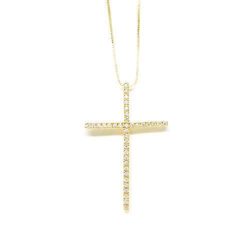 ATACADO Colar Crucifixo Cravejado com Zircônia no Ouro