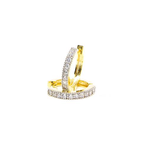 Brinco Argolinha Cravejada com Zircônia no Ouro