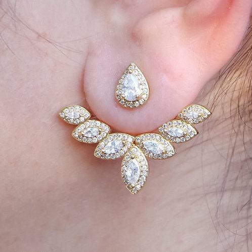 Brinco Ear Jacket com Zircônia no Ouro