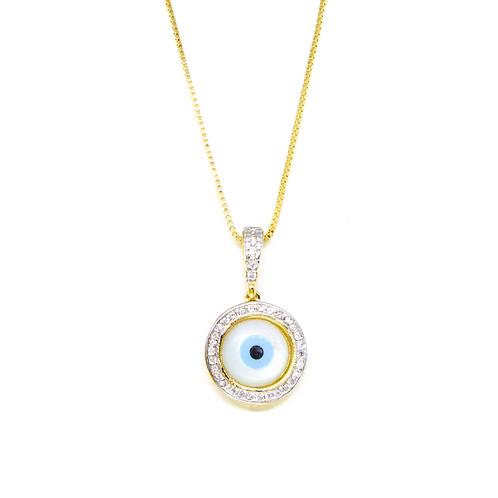 Colar Olho Grego em Madrepérola e Zircônia no Ouro