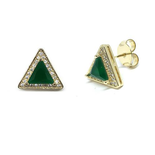 ATACADO Brinco Triangulo com Zircônia no Ouro