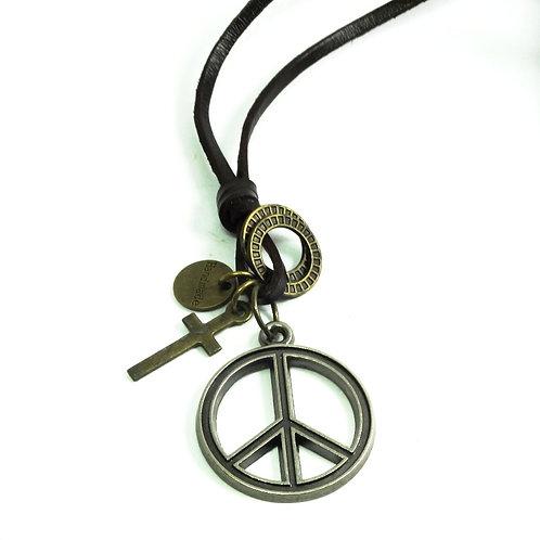 Colar Couro Paz e Amor