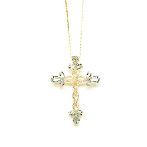 Colar Crucifixo Cravejado com Zircônia no Ouro
