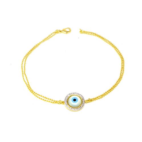 Pulseira Olho Grego em Madrepérola e Zircônia no Ouro