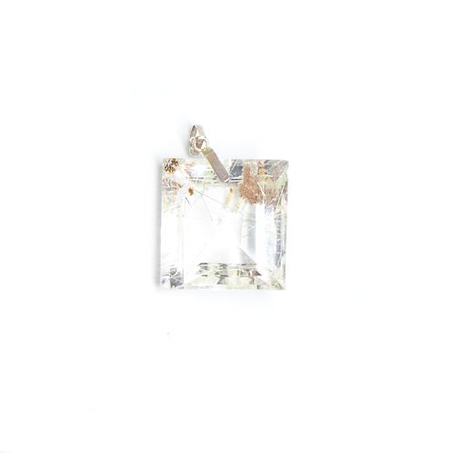 Pingente Prata 950 Pedra Cristal com Cabelo
