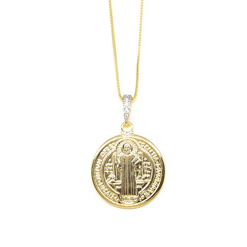 Colar São Bento com Detalhe em Zircônia no Ouro