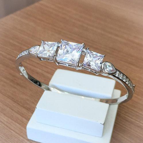 Bracelete Luxo Cravejado com Zircônia Cristal no Ródio