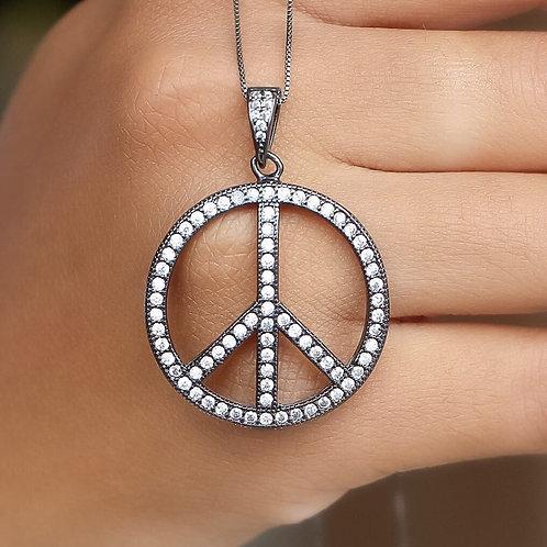 ATACADO Colar Simbolo Paz Cravejado com Zircônia