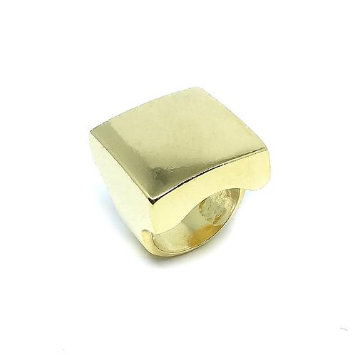 Anel Quadrado Liso no Ouro