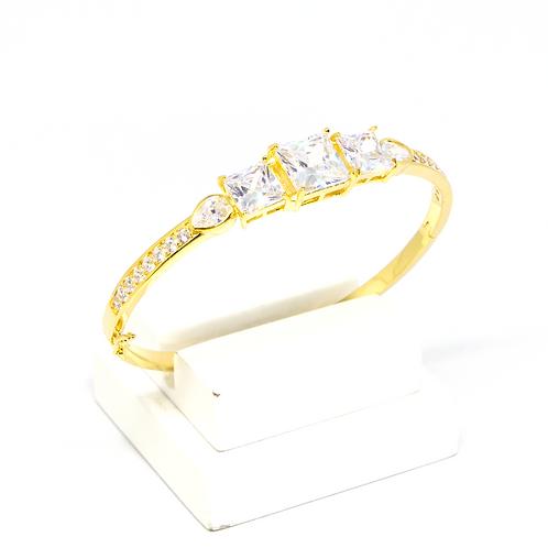 ATACADO Bracelete Luxo Cravejado com Zircônia Cristal no Ouro