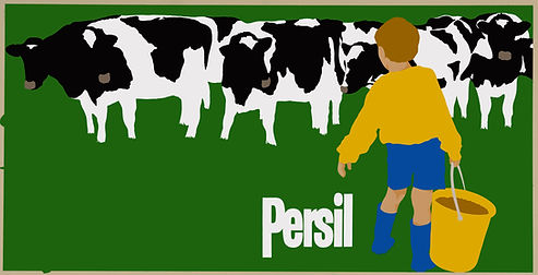 persil poster boy with cows . Slected as
