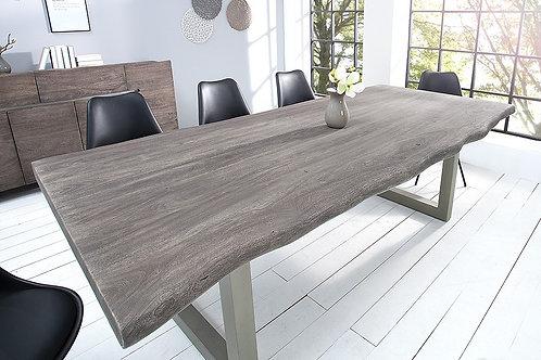 Table à manger design Mammut en bois massif d'acacia gris patiné 240cm