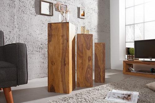 Set de 3 colonnes design Makassar en bois sheesham laqué