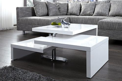 Table basse design Highclass 3 plateaux blanc laqué