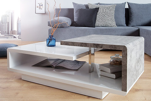 Table basse design Concept blanc laqué/aspect béton 100 cm