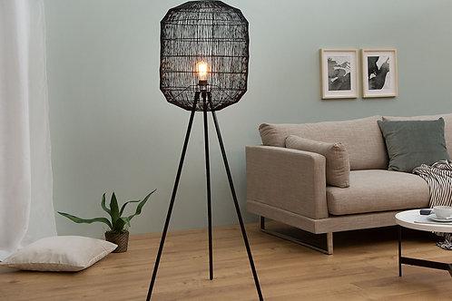 Lampadaire design Cage métal/papier tressé noir 159 cm