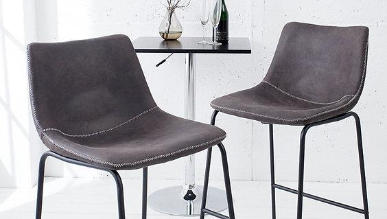 Chaise de bar design Django gris vintage 97 cm