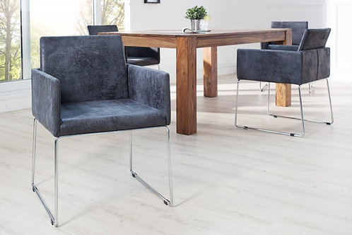 Chaise design Livorno acier/microfibre gris 80 cm