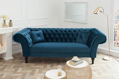 Canapé design Euphoria 3 places velours bleu 230 cm