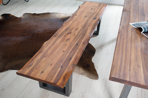 Banc design Genesis bois massif acacia / acier 160 cm