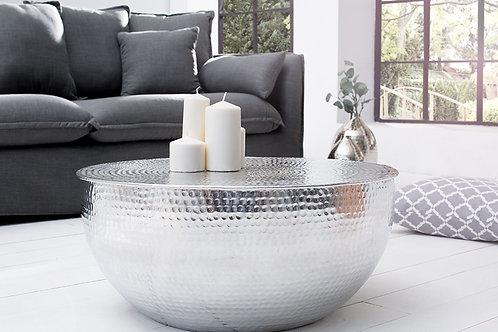 Table basse en aluminium argent design Optik 68 cm