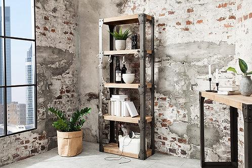 Étagère industrielle design Factory 4 niv. métal/bois acacia/gris 80 cm