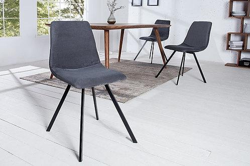 Chaise design Amsterdam métal/velours côtelé gris foncé 83 cm