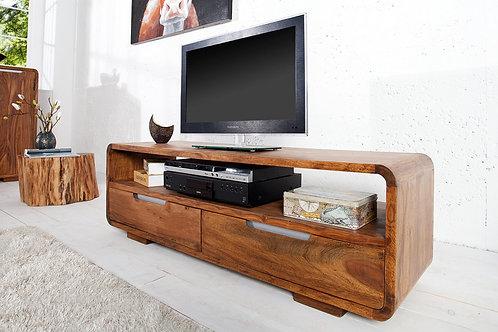 Meuble TV design Goa en bois Sheesham 2 tiroirs 130 cm