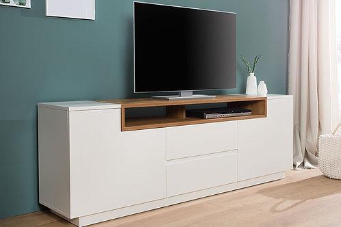 Meuble TV design Loft blanc/bois chêne 2 portes 2 tiroirs 180 cm