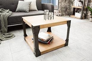 Table d'appoint industrielle design Factory métal/bois acacia/gris chaulé 65 cm