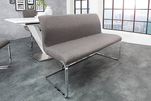 Banc design Hampton en tissu gris 130cm