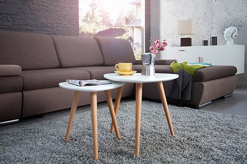 Set de 2 tables d'appoint gigognes design Scandinavia en bois hêtre  40/50 cm