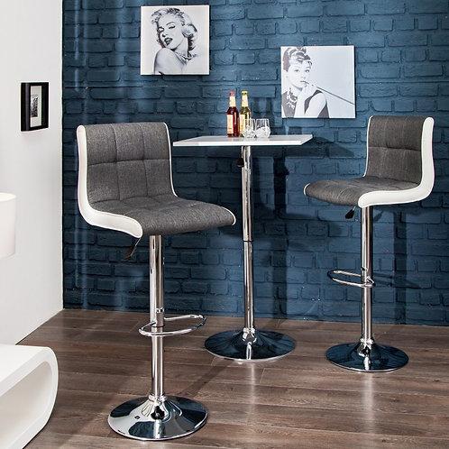 Tabouret de bar design Modena 90-115cm gris blanc