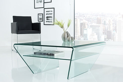 Table basse trapèze design Fantome en verre transparent 80 cm
