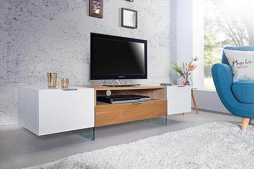 Meuble TV design Onyx  bois chène blanc 160cm