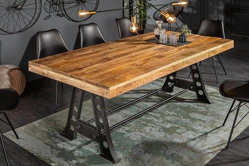 Table à manger Industrielle 200cm Mango 90mm naturel
