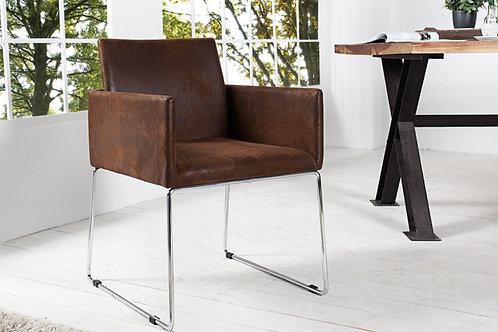 Chaise design Livorno métal/tissu café antique 80 cm
